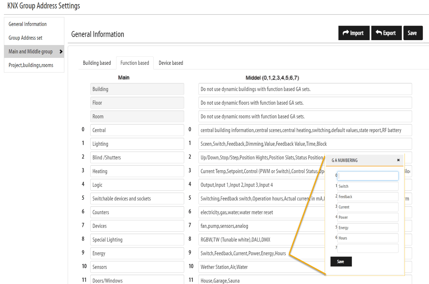 KNX group address settings