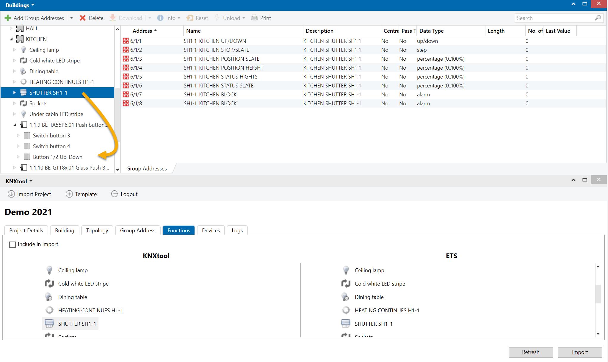 IoT functions in ETS